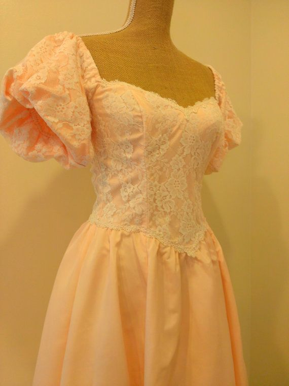 Vintage Gunne Sax Dress - 80s Prom Dress - Peach w/ White Lace ...