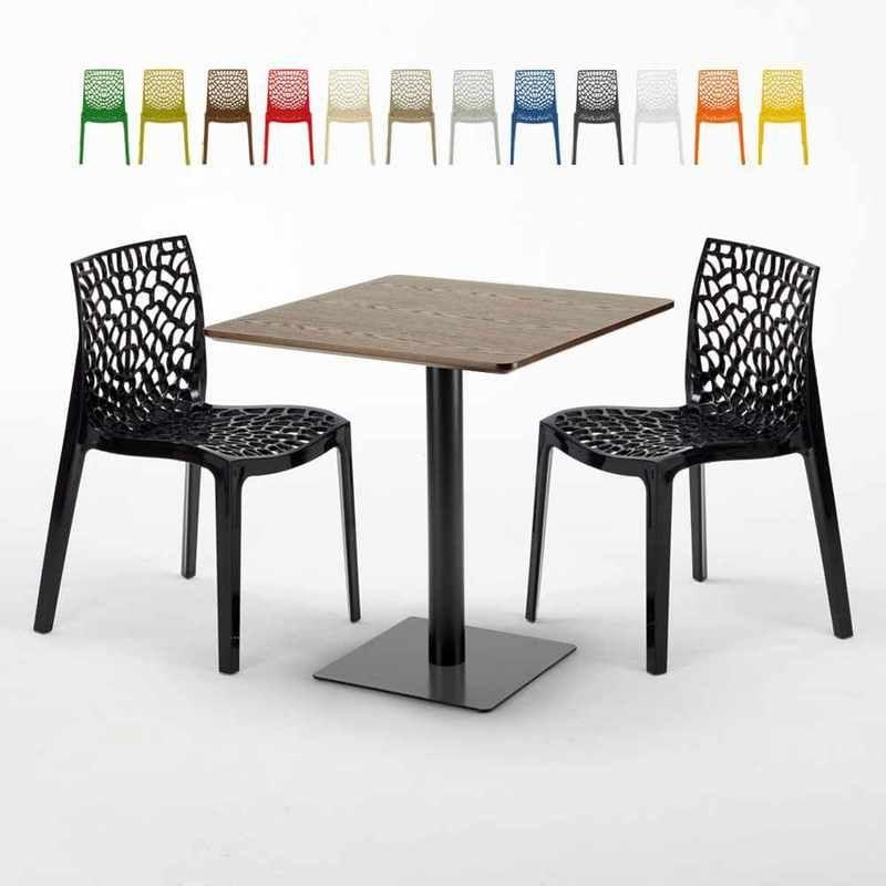 Table carrée 70x70 plateau effet bois avec 2 chaises ...