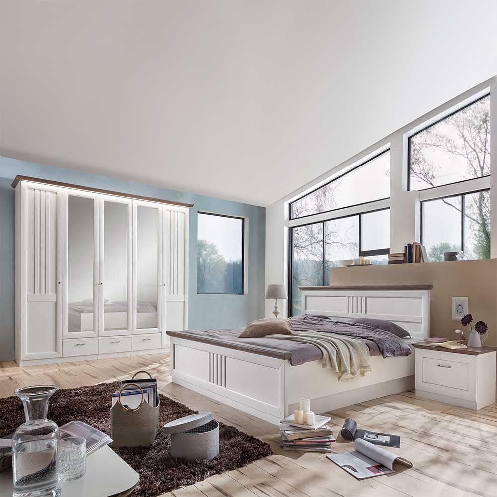 Landhaus Schlafzimmer Tiscoria in Weiß Grau aus Pinie (4-teilig ...
