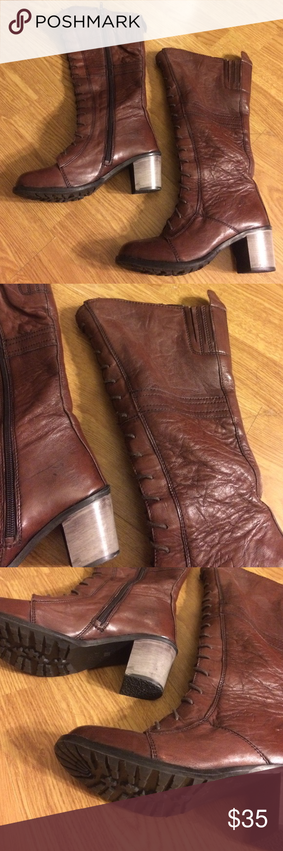 Brown boots Brown boots. Hardly worn, still really good condition! Velez leather boots Shoes Heeled Boots