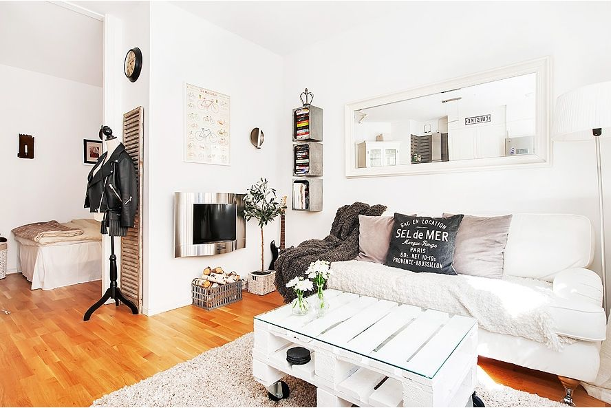Studio apartment DPto Pinterest Loft, Hogares pequeños y Salón