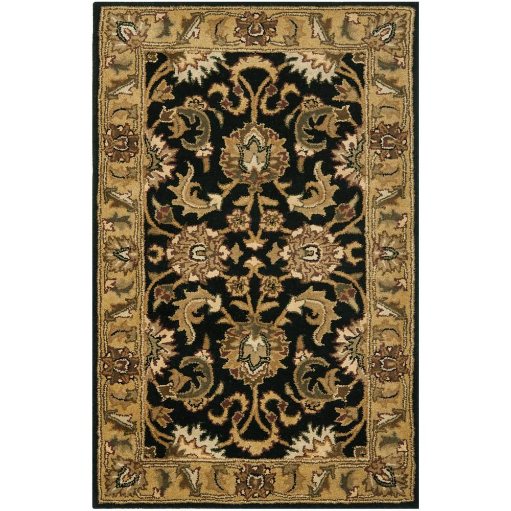 Safavieh Classic Black Gold 2 Ft X 4 Ft Area Rug Cl252a 24