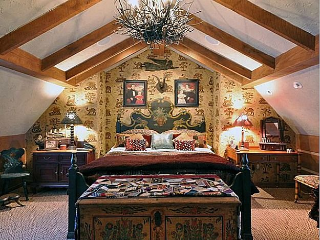 Guest cottage bedroom with lots of hand-painted furniture.  Like something out of a modern day fairy tale! Happy Hollow: A Gambrel-Style House & Guest Cottage