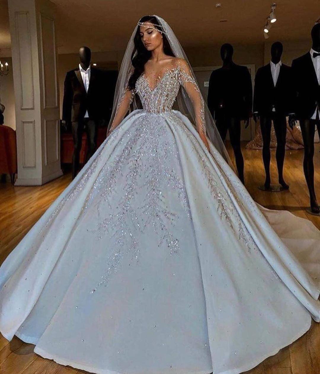 Long Sleeve Wedding Dresses Bridal Gowns With Sleeves White Ball Gowns Ball Gowns Wedding Sheer Wedding Dress [ 1261 x 1080 Pixel ]