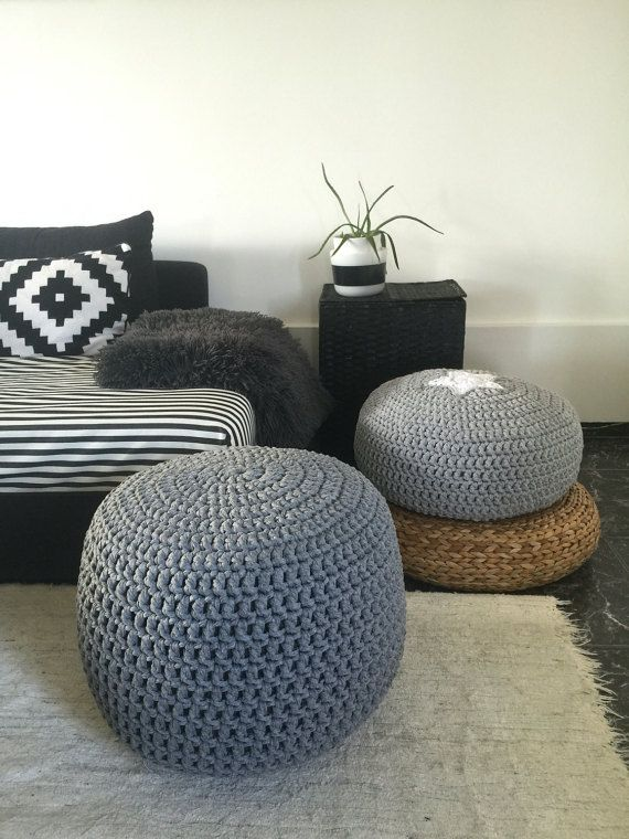 Grey Round Knit Ottoman Chunky Cotton Footstool Pouffe Gender Neutral Floor Pouf Seating Modern Nursery Puff Chair Living Room Design Decor Pouf Seating Floor Pouf