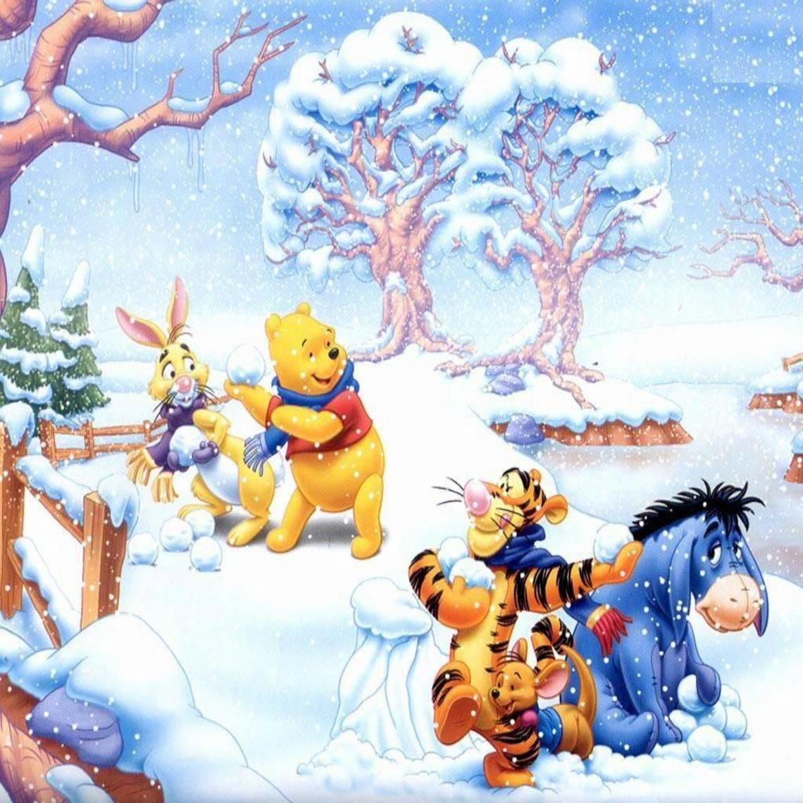 Winnie The Pooh And Snowball Fight Winnie The Pooh Christmas Winnie The Pooh Cute Winnie The Pooh
