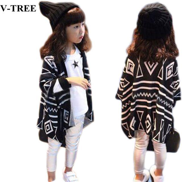 V-TREE Automne et printemps géométrique enfants survêtement enfants vestes et manteaux en tricot bébé vêtements cardigan vestes pour les filles