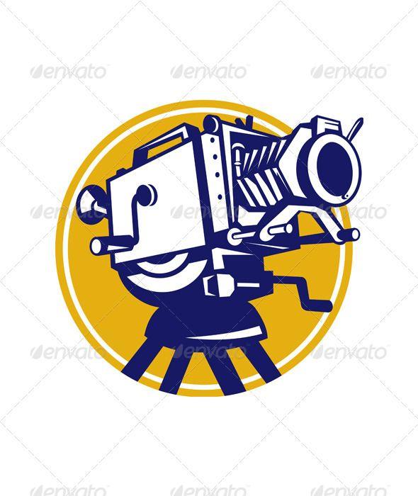 Vintage movie film camera retro graphicriver illustration for Camera film logo