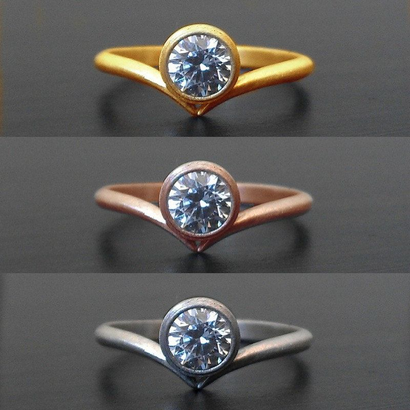 Offset+Moissanite+Engagement+Ring+in+14k+Recycled+by+houseonhudson,+$760.00