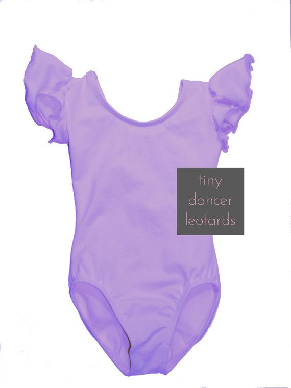 cd6dfac15 Personalized LILAC PURPLE Leotard with Flutter   Ruffle Short Sleeve ...