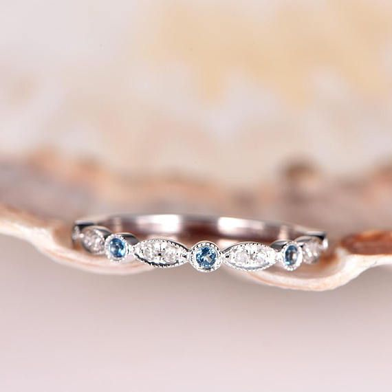 Art Deco Wedding Band Topaz Diamond Wedding Ring Half Eternity White