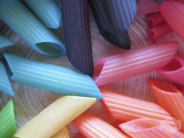 Coloured pasta for crafts - pasta, food colouring and 2 squirts of ...