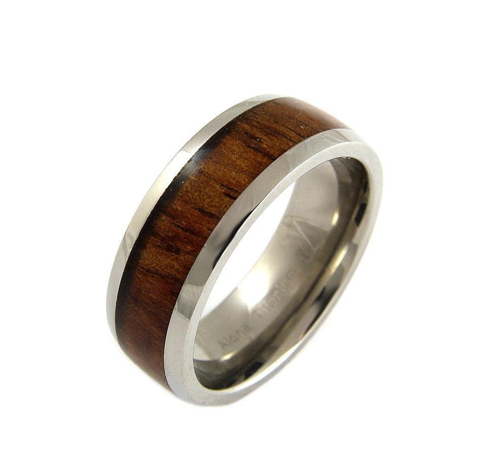 Energy titanium ring with real hawaiian koa wood inlay hawaiian