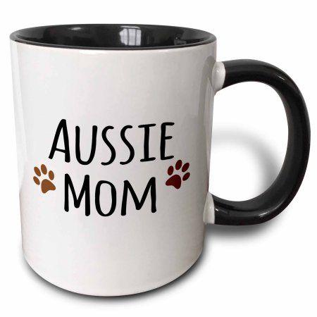 3dRose Aussie Dog Mom - Australian Shepherd Doggie by breed brown muddy paw prints doggy lover mama love, Two Tone Black Mug, 11oz