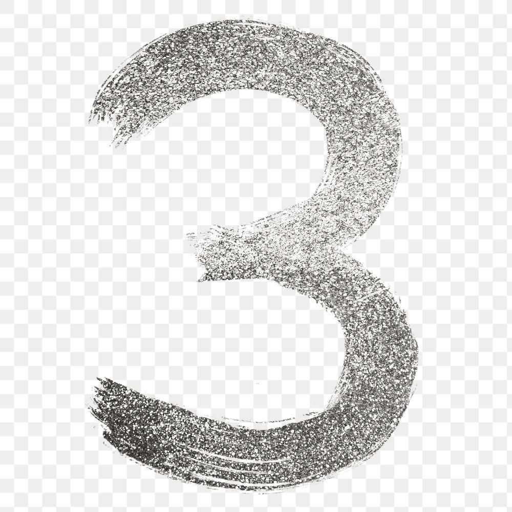 Silver Glitter 3 Number Png Brush Stroke Font Free Image By Rawpixel Com Hein Brush Stroke Font Silver Glitter Brush Strokes