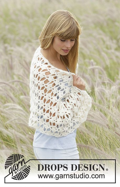 Crochet DROPS stole with fan pattern in \