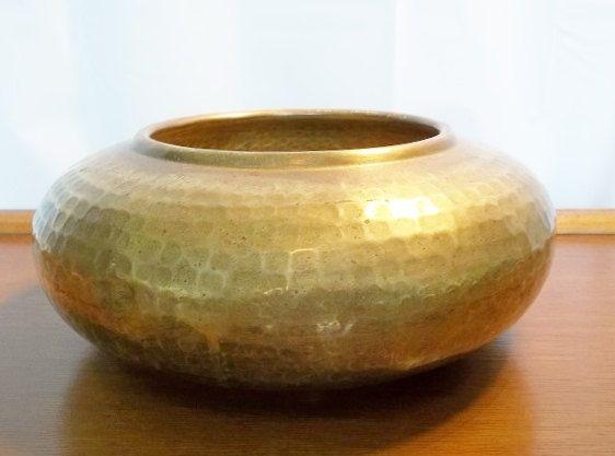 Vintage Hammered Brass Planter Vase Bowl by RevivedTraditions, $39.00