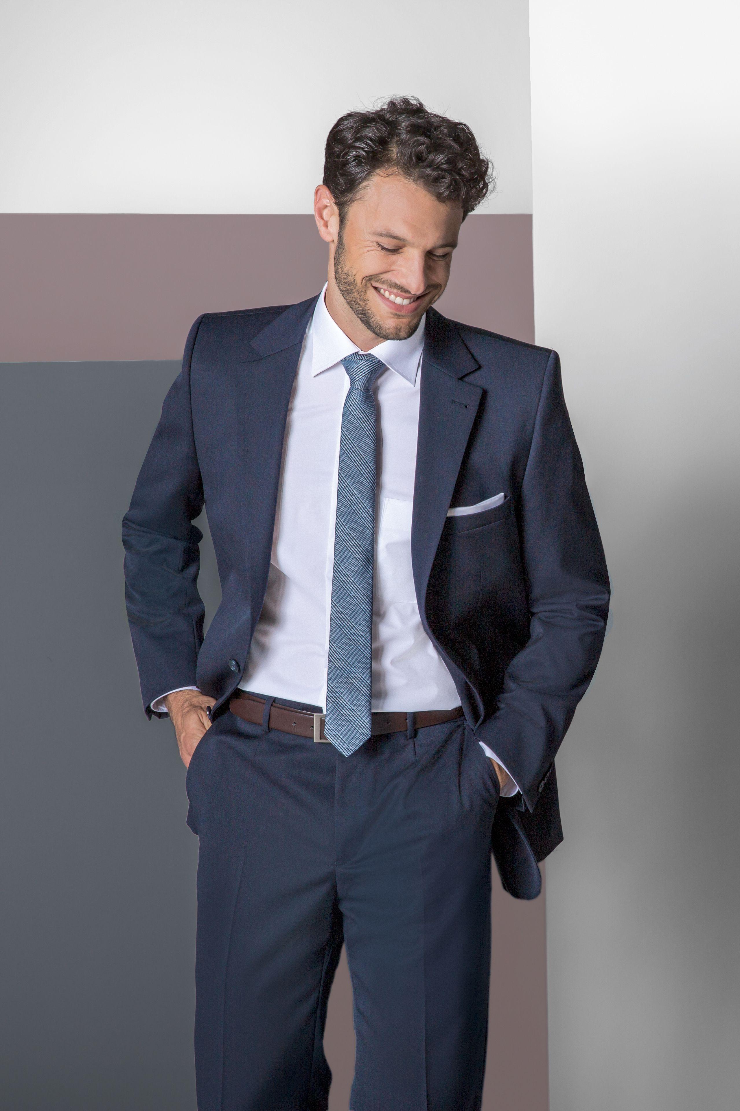 COLLECTION 201920 BASIC suit, dark blue, shirt, white
