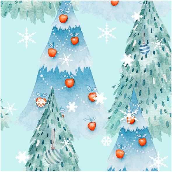 Tkanina 18940 Lesne Skrzaty Blue Xl In 2020 Watercolor Christmas Tree Christmas Watercolor Christmas Ornaments