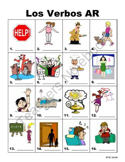 Spanish AR Verbs PICTURE Notes IDENTIFY from Spanish the easy way ...