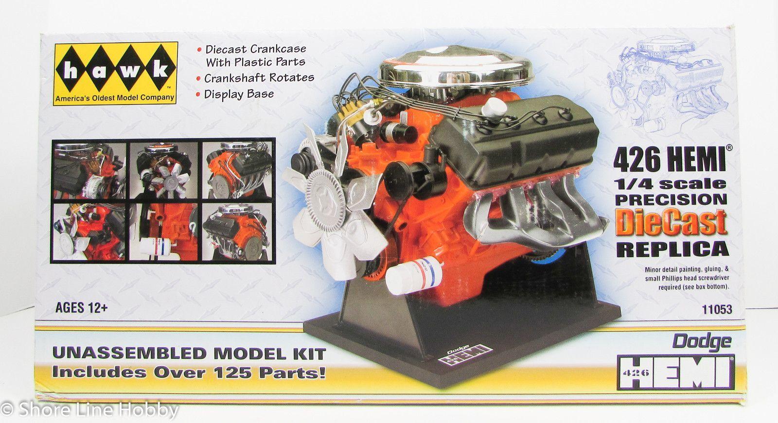 Dodge 426 HEMI V-8 Diecast Engine Hawk 11053 1/4 New Model Kit