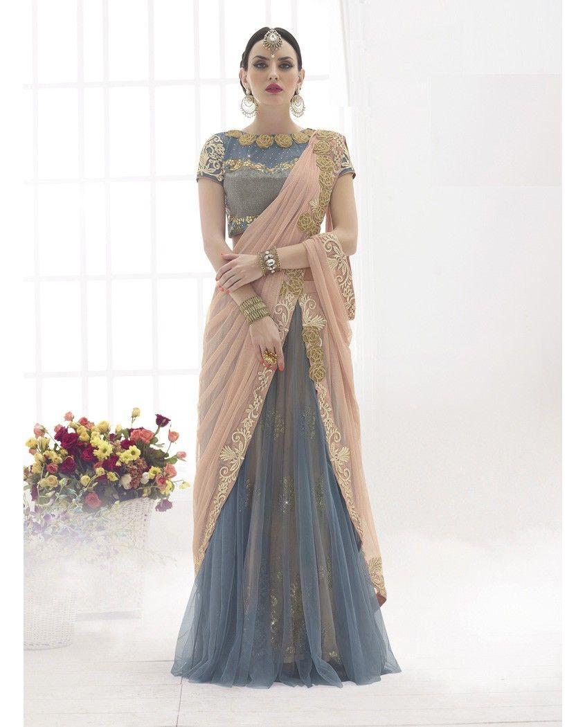 4f50bdef9e8a7b Peach and grey lehenga sari with golden embellished border 1. Peach and  grey embroidered lehenga sari2. Golden thread floral embroidery border3.