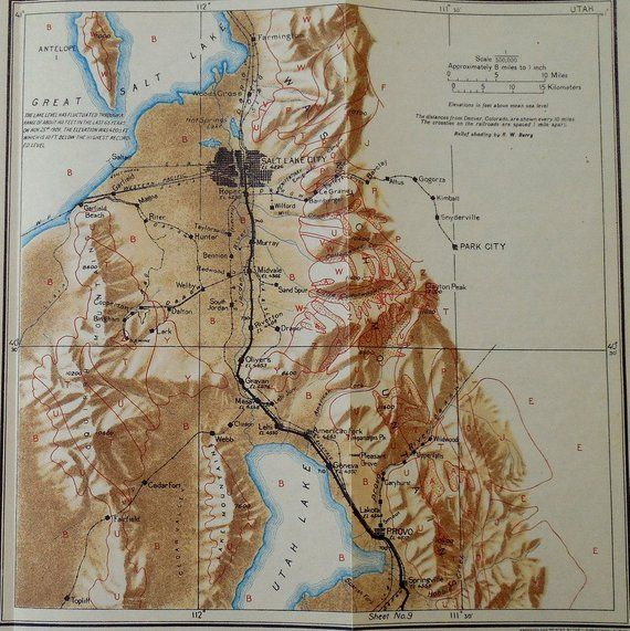 1922 Great Salt Lake area Railroad Map Salt Lake City, Park City ...