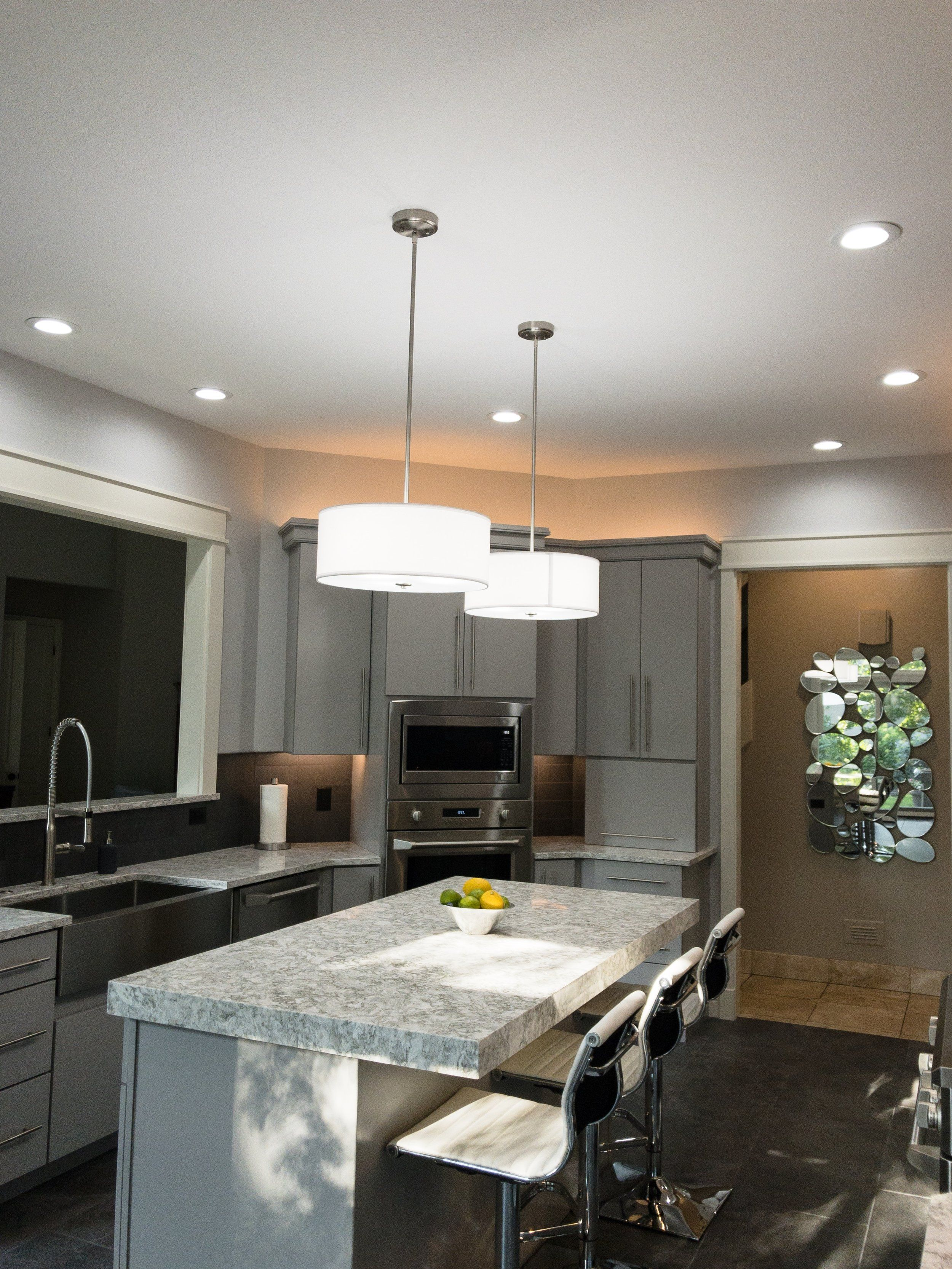 Recessed lighting modern hanging lights give this previously dark ...
