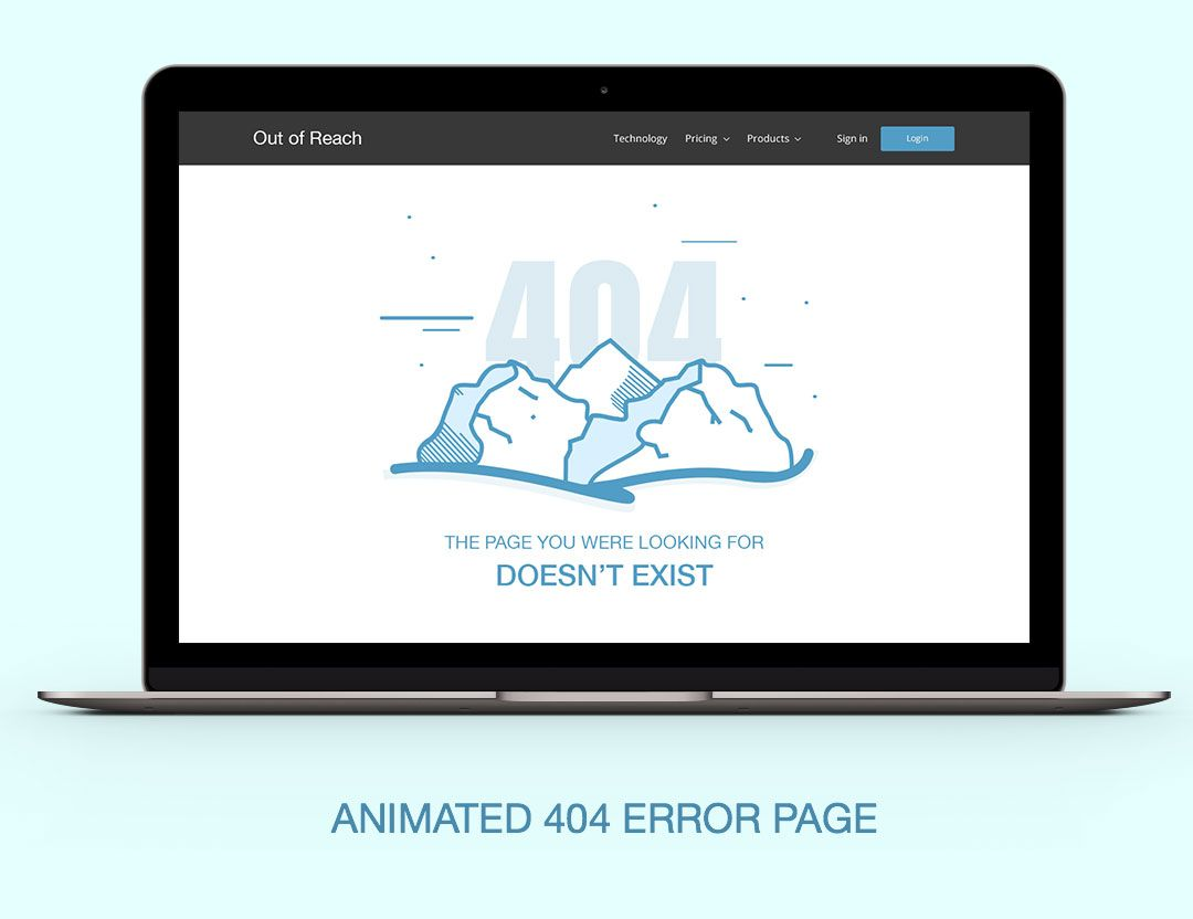 Out Of Reach 404 Error Page Html Template Web Grind Portfolio