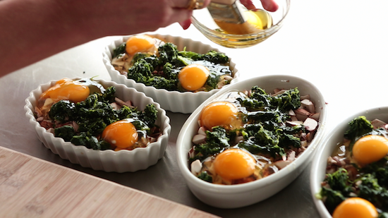 Christmas Family Breakfast: Baked Eggs With Mushrooms and Spinach Recipe