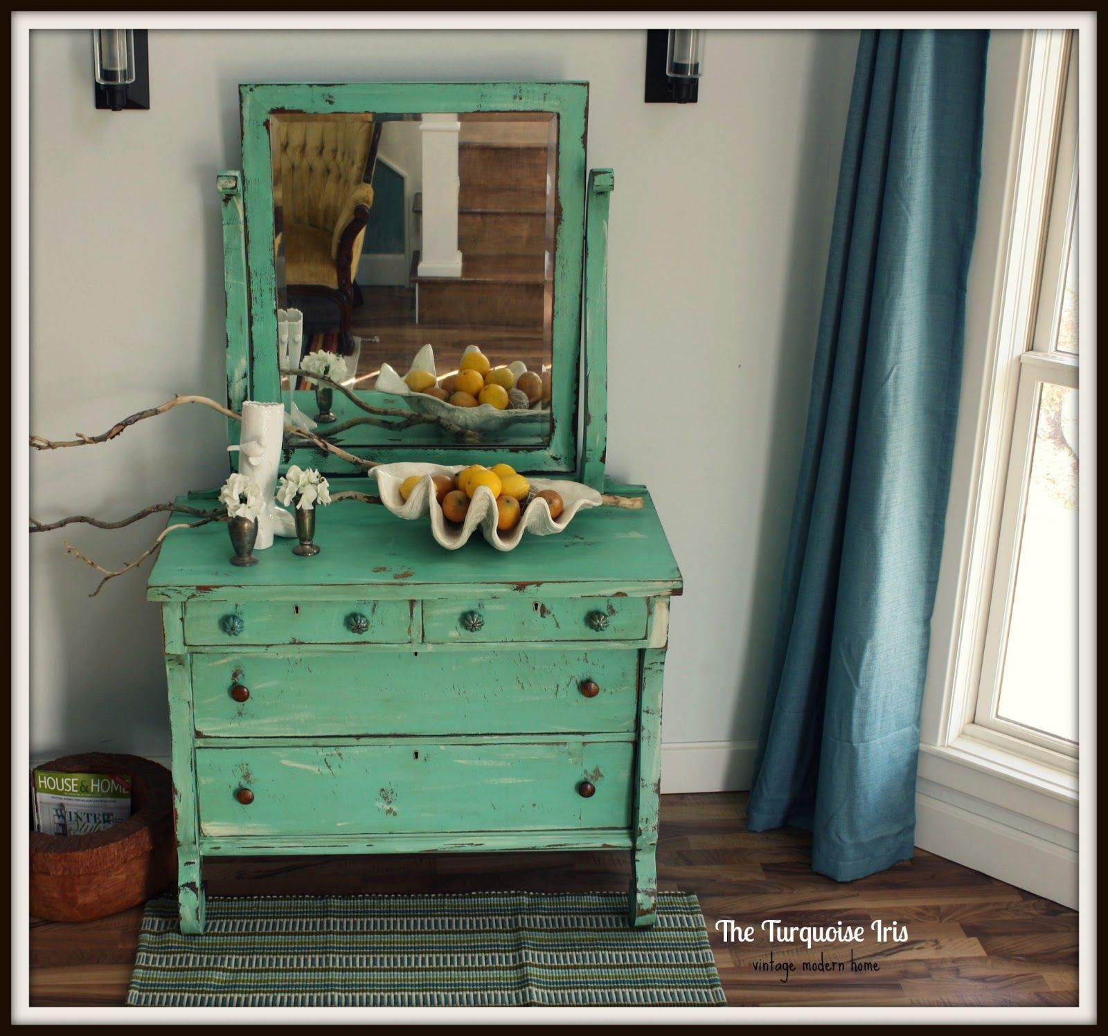 The Turquoise Iris Mint Green Antique Dresser With Mirror Shabby Furniture Shabby Chic Dresser Green Bedroom Furniture [ 1497 x 1600 Pixel ]