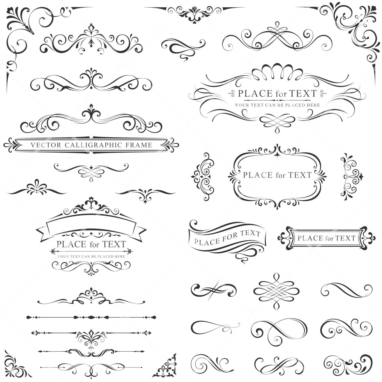 Wedding Invitation Borders Clip Art: INSTANT DOWNLOAD 33 Digital Borders Frames Ornate Vintage