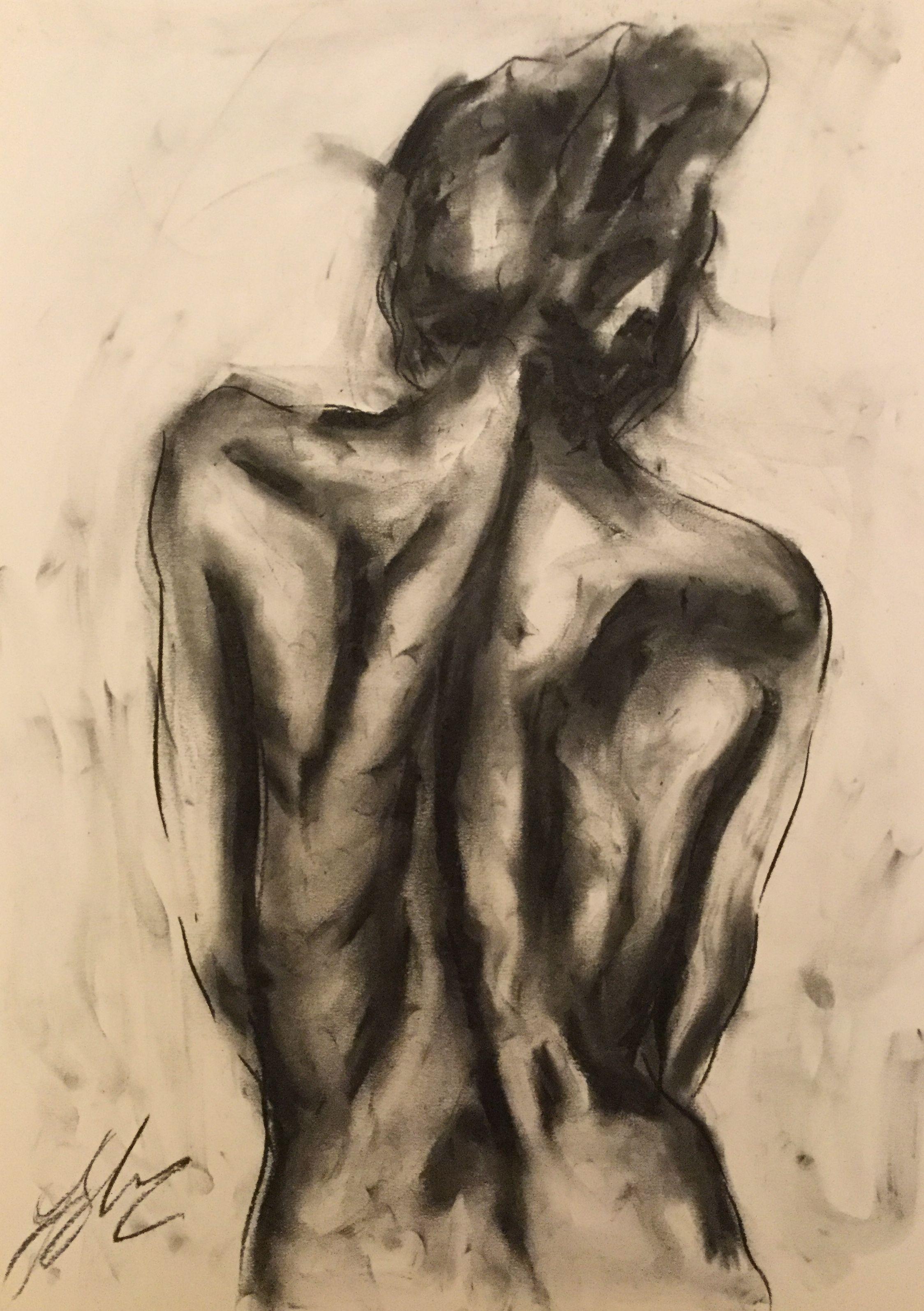 Medium, Original, Impressionist, Drawing, Charcoal on Paper,