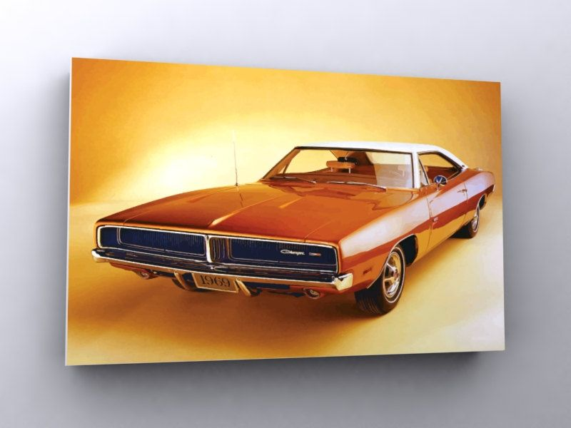 Old Style Charger 1969 - 30x20 inches car poster pop art route 66 usa us retro rockabilly. $35.00, via Etsy.