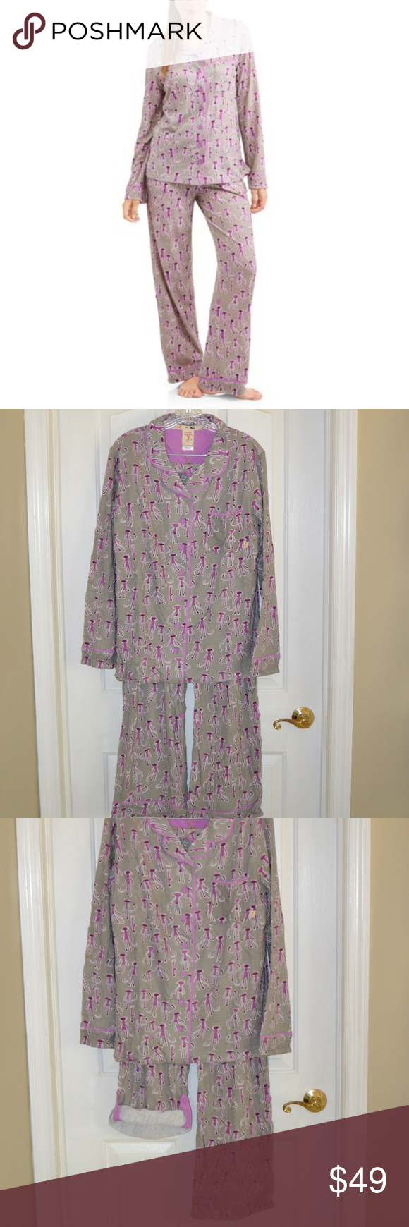 Munki Munki Sock Monkey Pajama Set Sizes  S M L XL Adorable purple sock  monkeys with a 08d3af20f