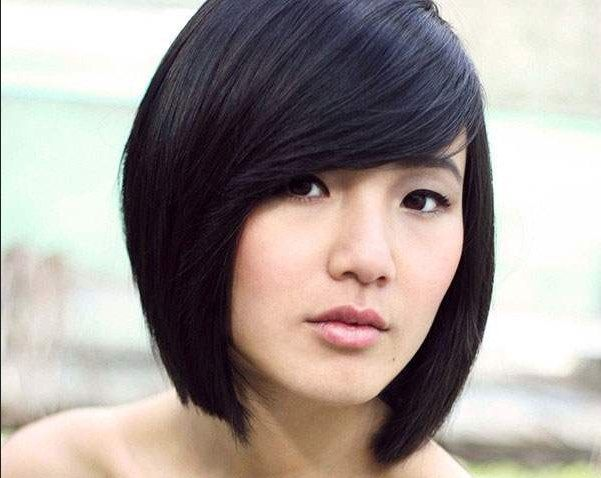 Image Result For Korean Side Swept Bangs Angled Bob Hairstyles