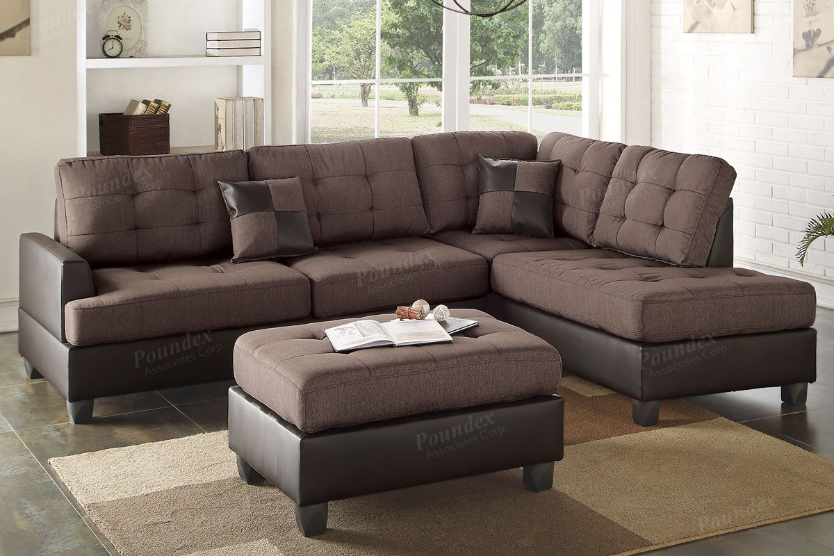 Adelanto F6857 Chocolate Reversible Sectional With Ottoman