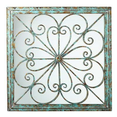One Allium Way Framed Square Scroll Wall Decor with Mirror