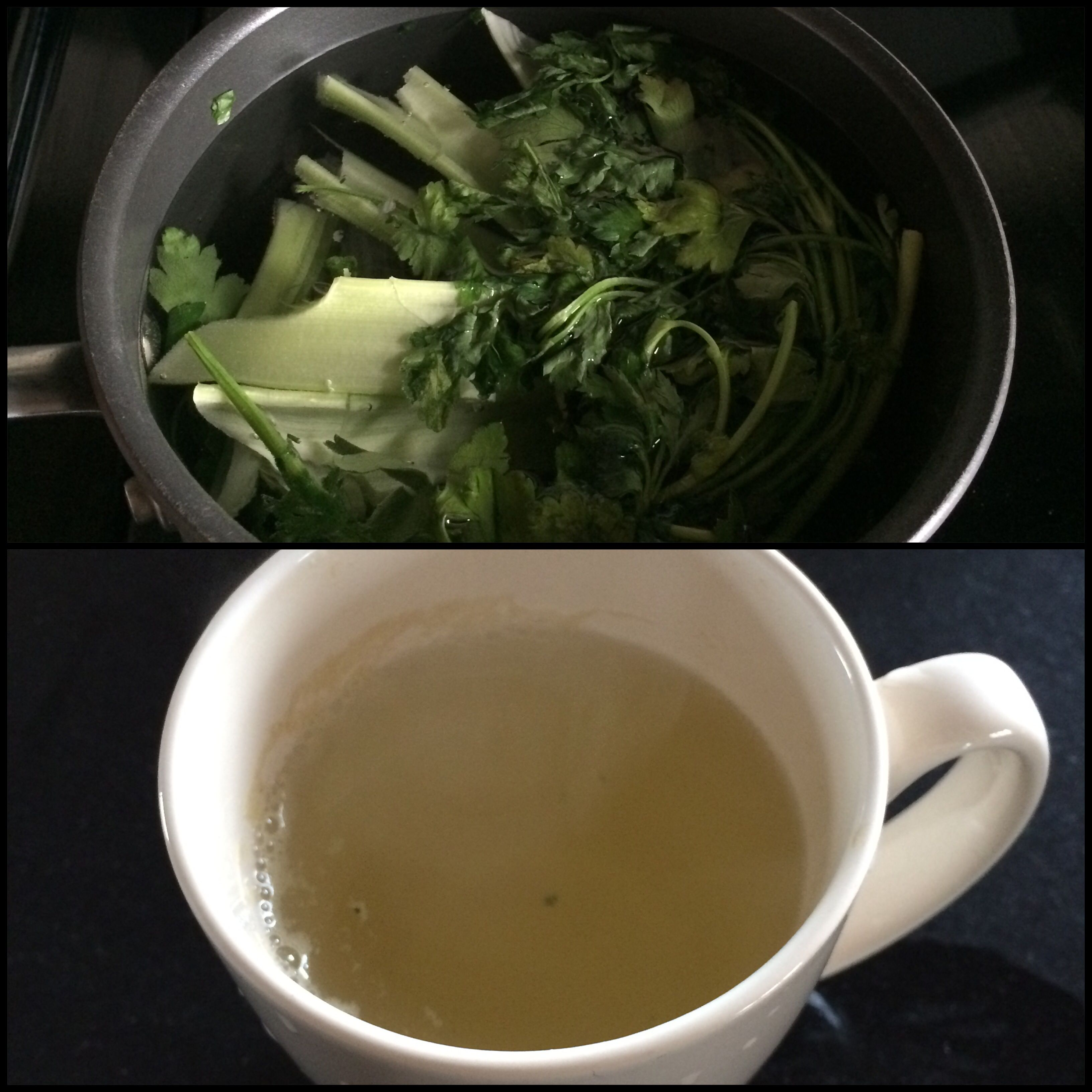 Detox drink. Celery and parsley. Brought to a boil. Remove and drink the broth. Every morning heated