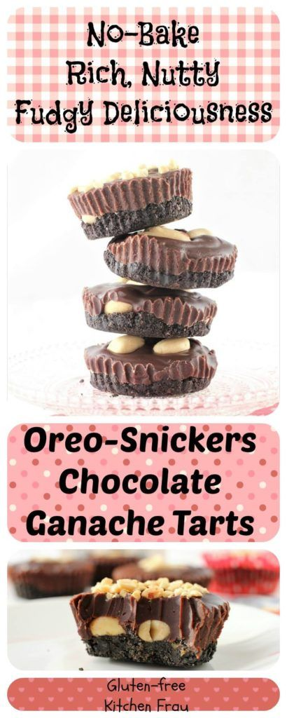 Decadent Oreo-Snickers Chocolate Ganache Tarts are no-bake and so easy to make. They're luscious and nutty and fudgy. Make them for a quick dessert for Valentine's Day or any special day. A great kids cooking project, too.
