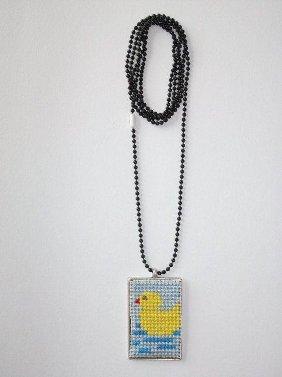 Handmade Crosstitch Duck Pendant by smallbourboulithra on Etsy, €18.00
