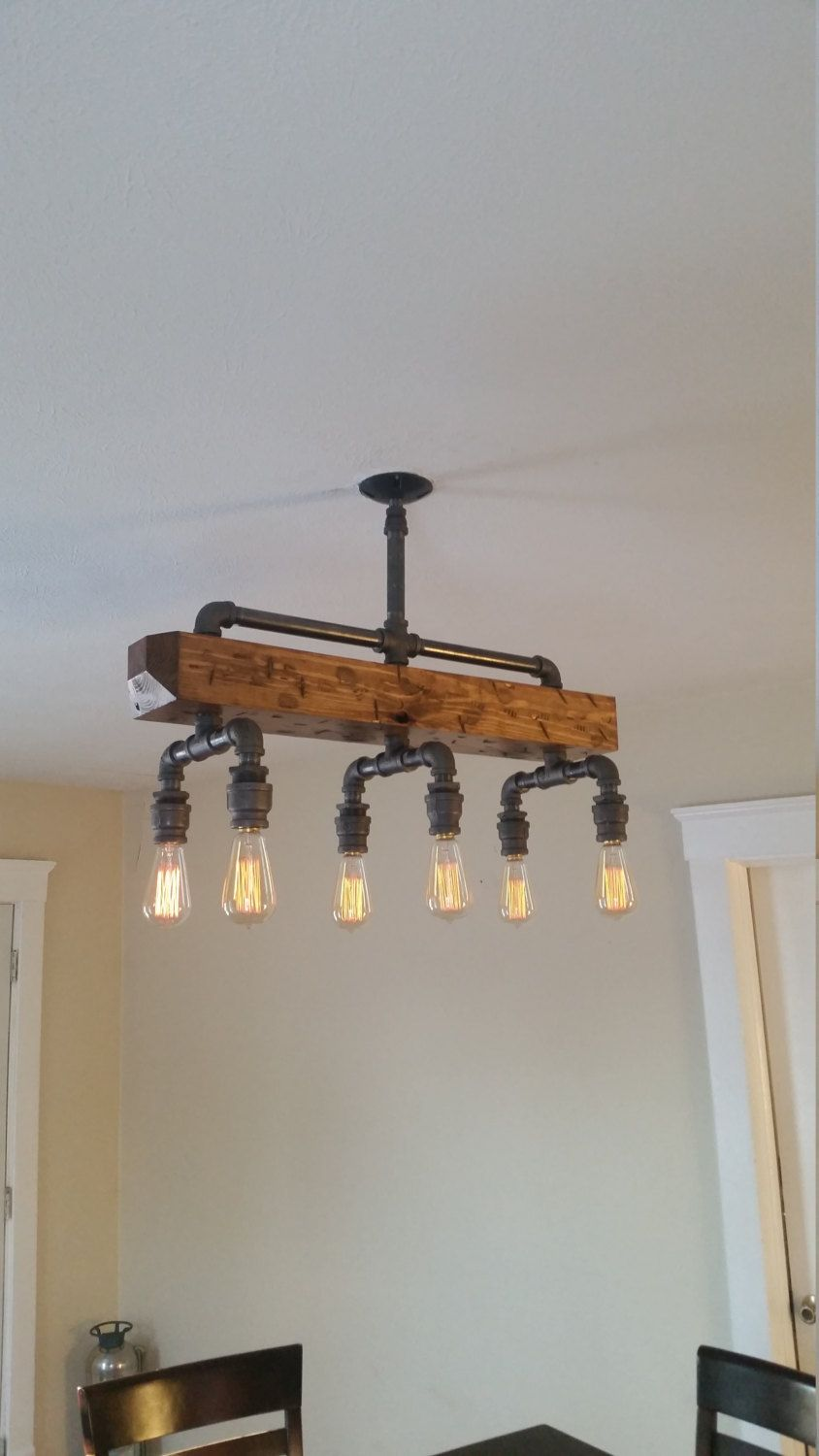 reclaimed industrial lighting. distressed wood beam chandelier pipe light barn reclaimed industrial rustic lighting