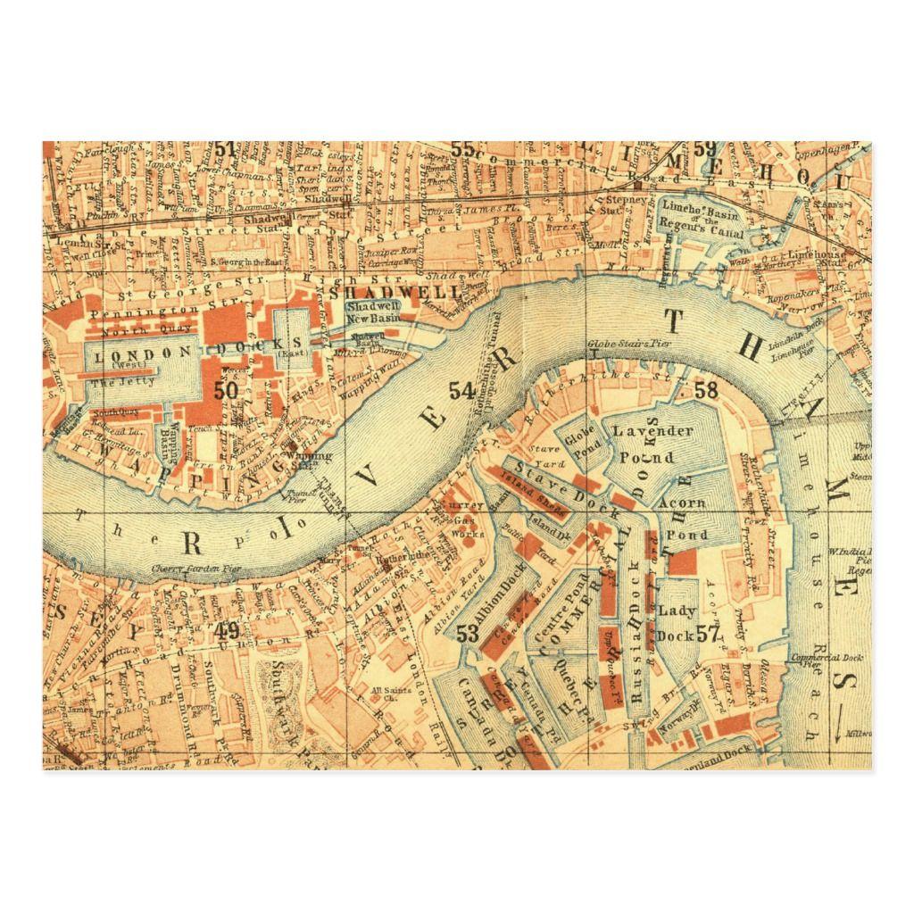 City Slickers Vintage Map London River Thames Postcard Zazzle Com London Map London Postcard London Map Art