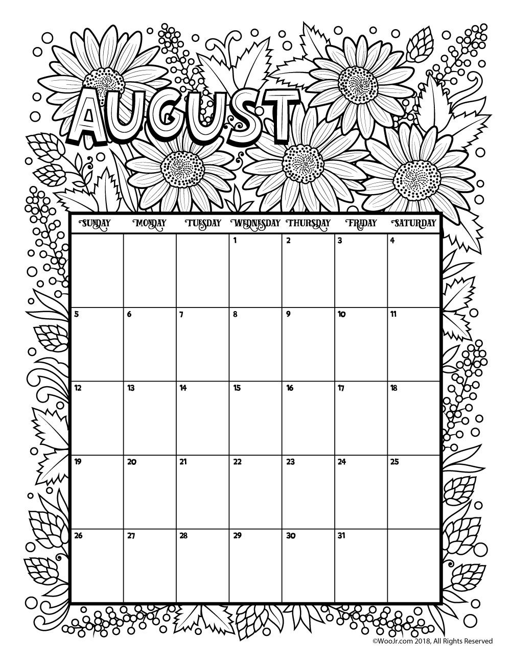 August 2018 coloring calendar page for Calendar coloring page