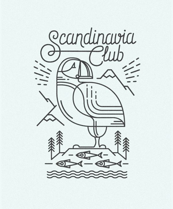 Dock 57 created these cool Scandinavian line illustrations. They featuring some of the regions characteristics, such as cabins, vikings, Icelandic geysers and volcanos, reindeers etc. The illustrations where made for the Scandinavia club in Moscow.