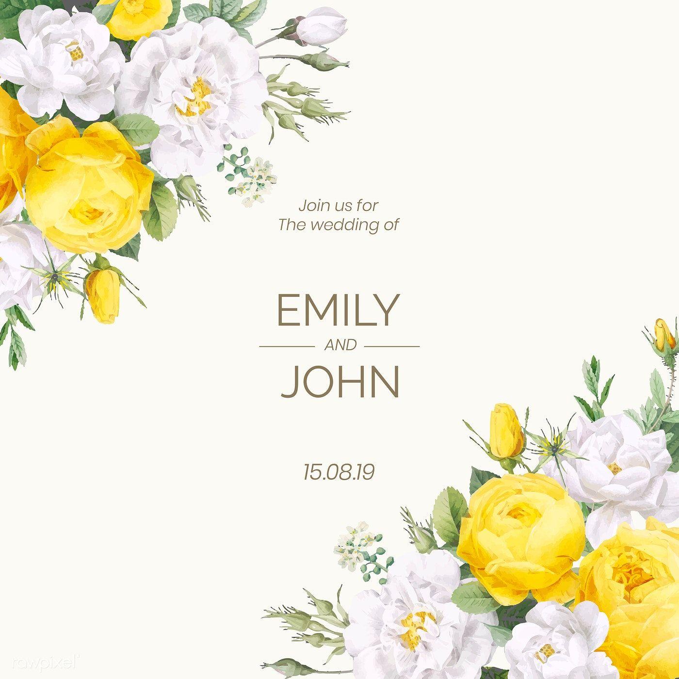 Download Premium Vector Of Blooming Wedding Invitation Card Vector 581019 Wedding Invitation Cards Floral Wedding Invitation Card Wedding Invitation Design