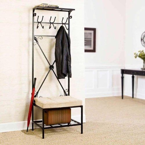 SEI Black Metal Entryway Storage Bench With Coat Rack Home Decor Enchanting Metal Entryway Storage Bench With Coat Rack