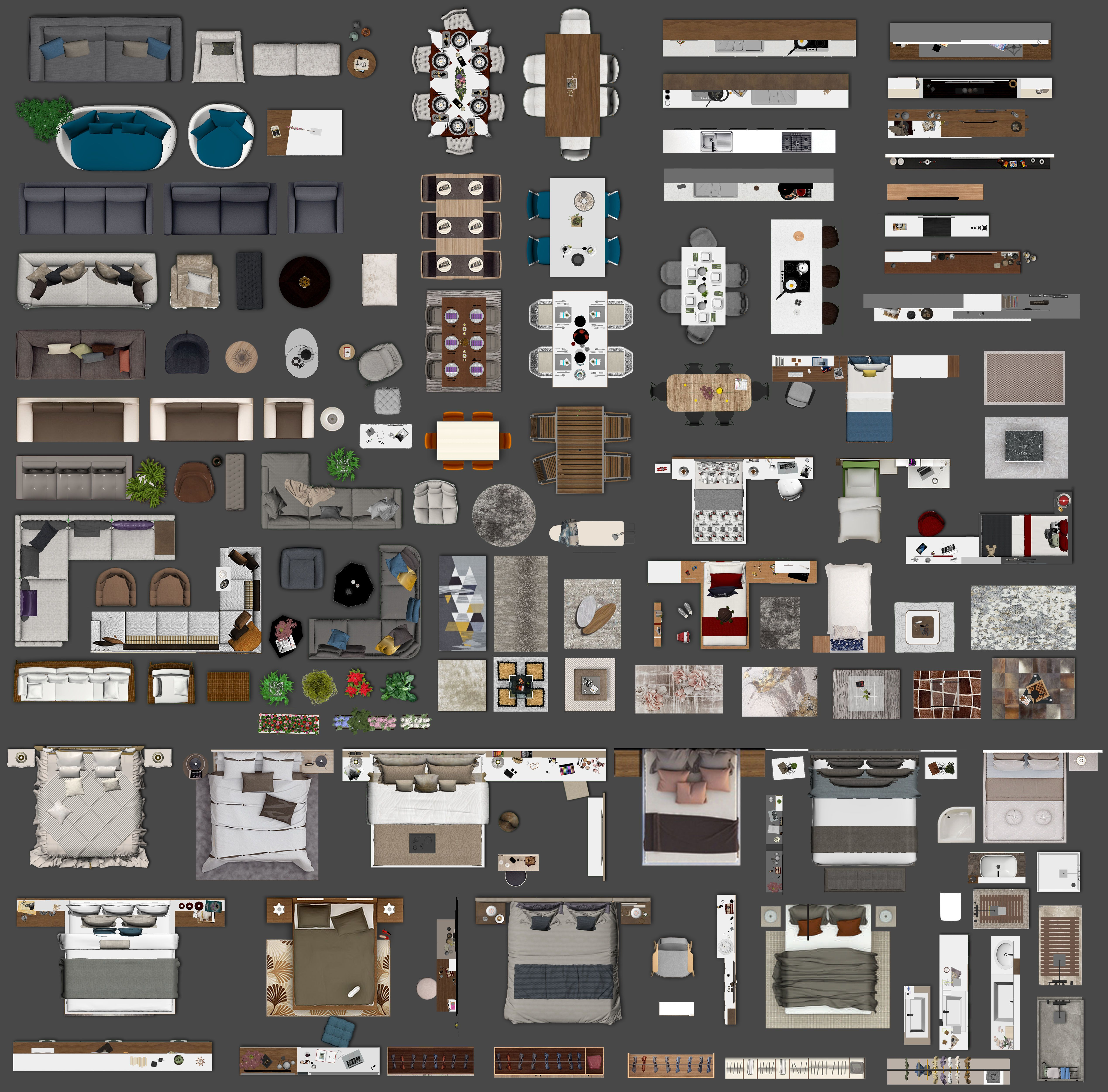 Floor Plan 2d Furniture Top View Psd Realistic Vol 2 3d Model Rendered Floor Plan Layout Architecture Hotel Floor Plan