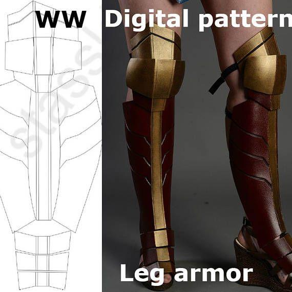 Wonder Woman Pattern Leg Shin Knee Greaves Boots Cosplay