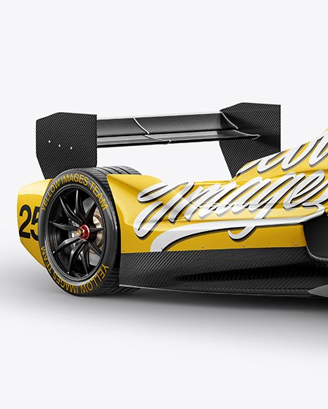 Formula E Racing Car Mockup Half Side View Vehicle